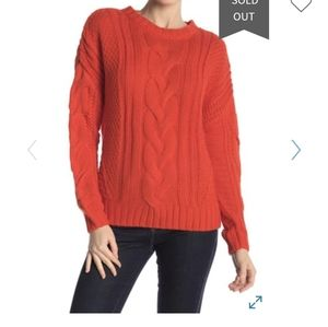 One A Crew Neck Cable Knit Sweater NWT $78 Red